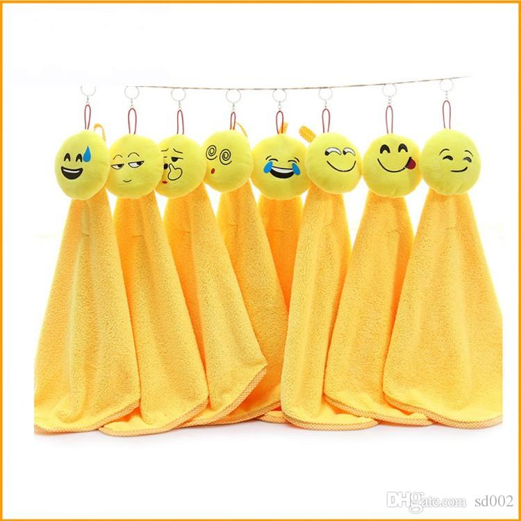 Smiling Face Emoji Dishcloth For Home Kitchen Articles Lovely Cleaning Cloths Hanging Coral Velvet Hand Towel Water Uptake 6zt C RZ