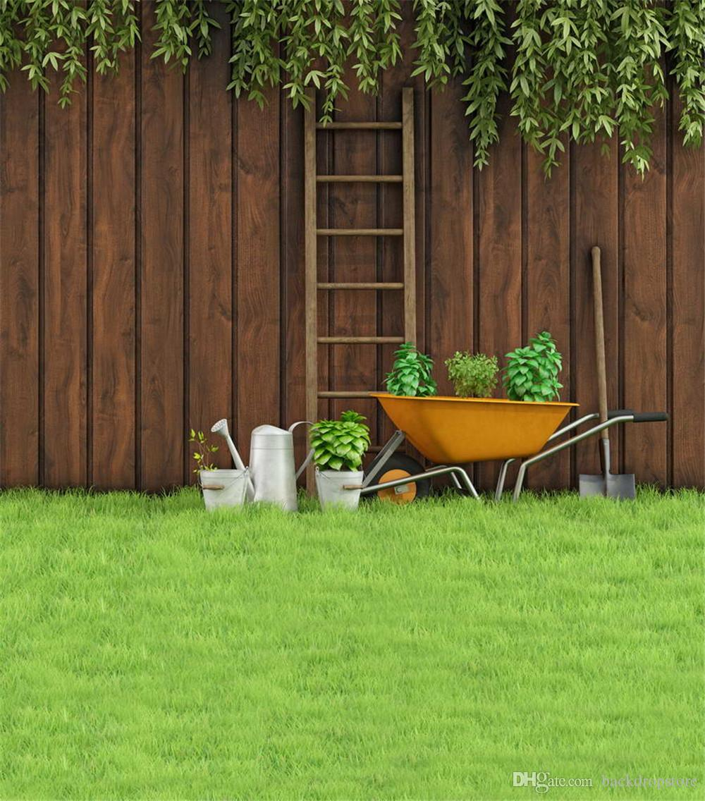 2017 backyard photo background green grass floor tools vintage