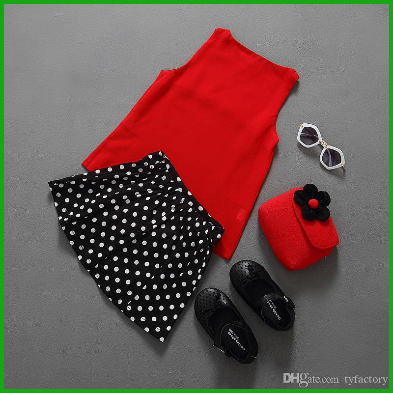 bright fashion lovely shining red girls dress suits sleeveless tops dot bow patched children sundress hot selling new 2016