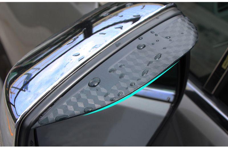 Стайлинга автомобилей углерода зеркало заднего вида дождь бровей непромокаемые гибкие лезвия протектор аксессуары для Mitsubishi PAJERO 2008-2012