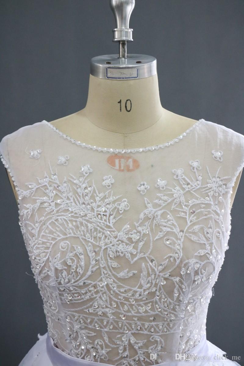 Echt Bilder Brautkleider Scoop Sheer Neck Front Split Puffy Capped Perlen Günstige Brautkleid Durchsichtig Sexy Strand Brautkleider
