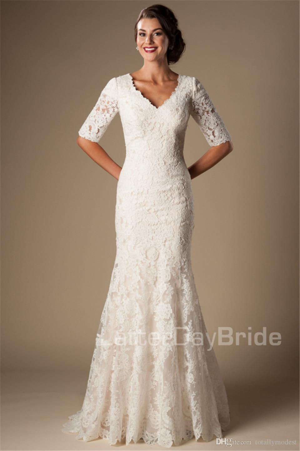 Ivory Vintage Lace Mermaid Modest Wedding Dresses With Half Sleeves V Neck Elbow Sleeves Length Temple Wedding Gowns Vestido De Noiva
