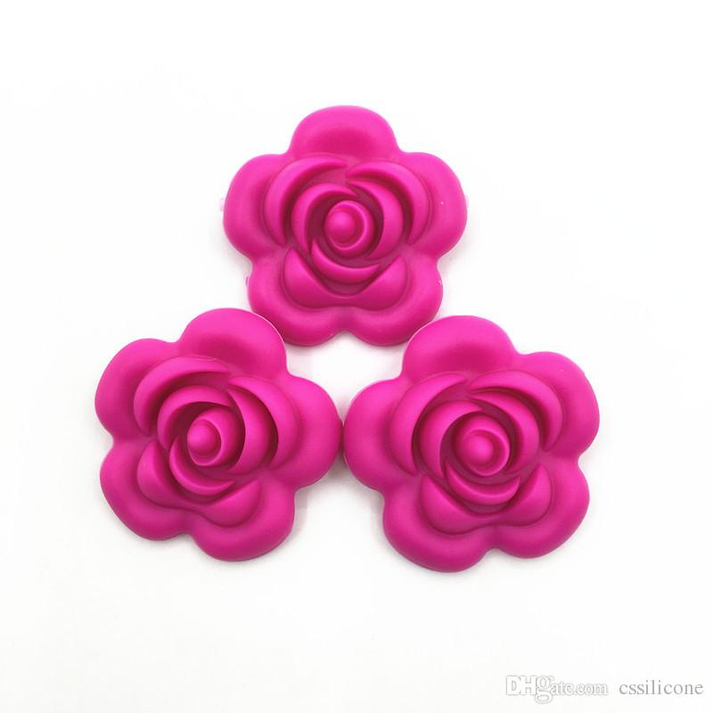 Large rose flower Loose Beads for Food Grade Silicone Teething Necklace-silicon teether pendant toys