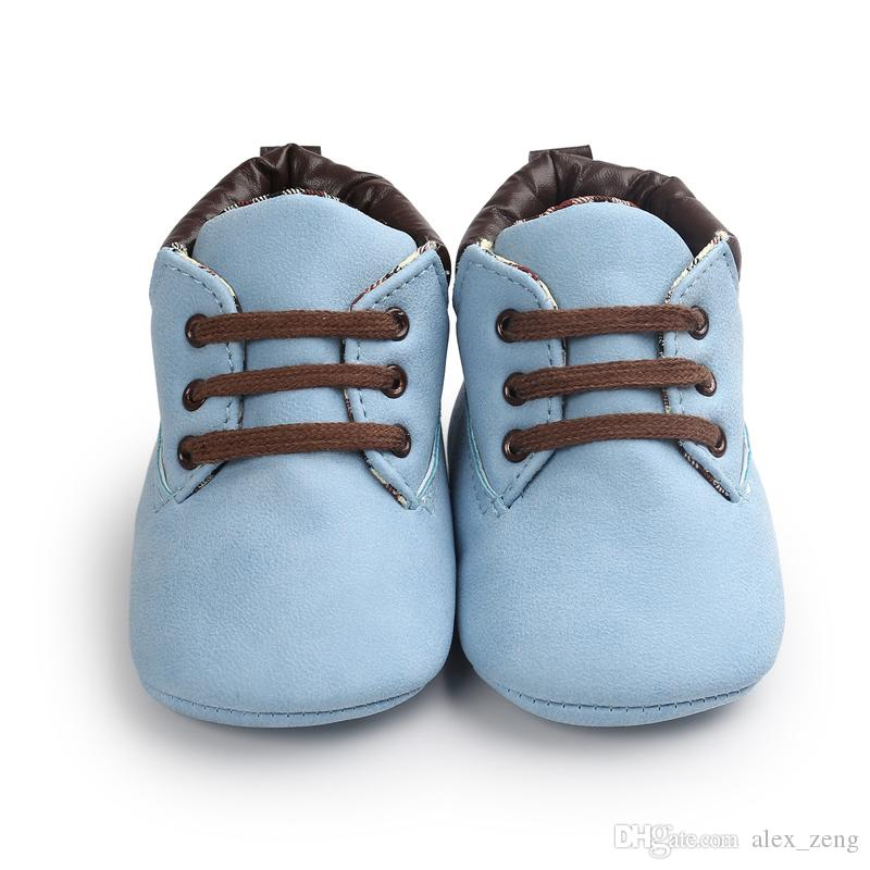 Baby Shoes Toddler Prewalker Shoes Kids Fashion Soft Sole Moccasins Lace Up Shoe Children Cool PU Leather First Walker Shoes
