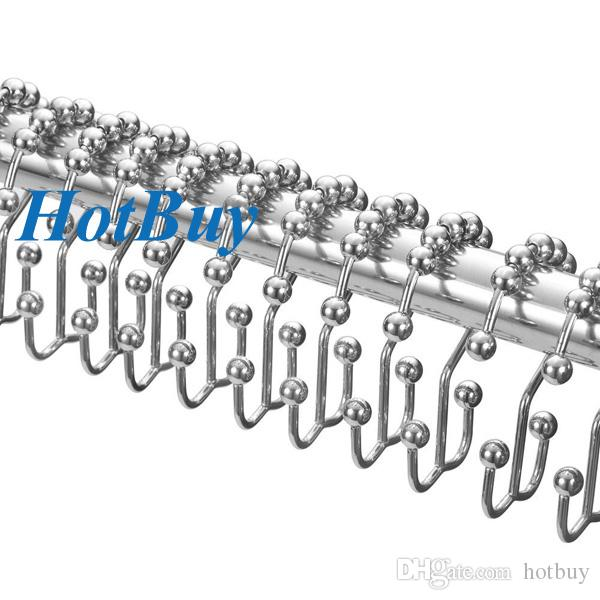12 Banyo Set Dekoratif Paslanmaz Metal Çift Glide 8 Rollerball Duş Perdesi Hooks Yüzükler Cilalı Krom # 3891
