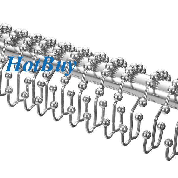 Banyo Dekoratif Paslanmaz Metal Çift Glide Duş Perdesi Hooks Yüzük Cilalı Krom # 3891