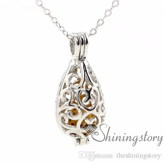 Pingente openwork colar de óleo essencial difusor colar colar de perfume por atacado aromaterapia jóias difusores de metal pedra vulcânica