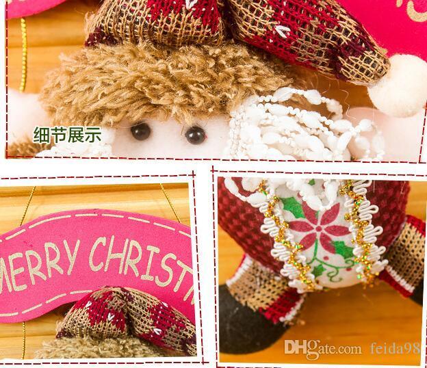 Buon Natale Babbo natale pupazzo di neve alce cervo bambola panno ciondolo Partito Decor puntelli Porta albero bambino camera ornamenti HJIA882