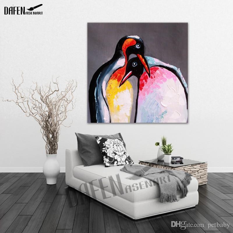 100% Peinture À La Main Belle Pingouin Peinture À L'huile Moderne Animal Carré Mur Art Art Peinture Acrylique à L'huile sur Toile Décoration de La Maison