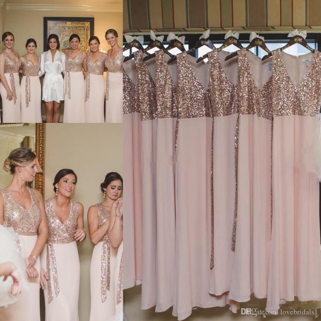 2017 sex v neck beach bridesmaid dresses floor length pink chiffon 2017 sex v neck beach bridesmaid dresses floor length pink chiffon rose golden sequined dresses for beach garden seuin chiffon bridesmaid dress glod ombrellifo Choice Image