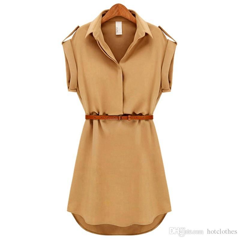 Hot Women's Clothing Casual Chiffon Dress Short Sleeve Loose Beach Shirt Sundress Evening Party Mini Dress With Belt Plus Size Dresses