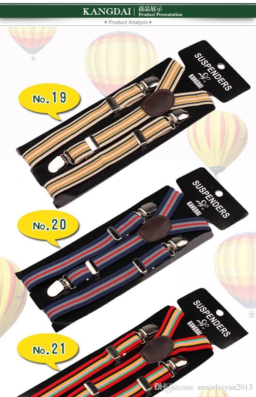 Crianças de Alta Qualidade Stripe Suspensórios Y-back Suspensórios Ajustáveis Clip-on Suspender Elástico Crianças Cinto Correias Do Bebê Acessórios Atacado