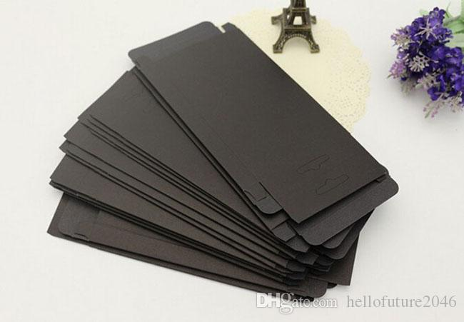 blank paper retail package packing box for iphone 6 6s 5s leather case cover black kraft material box with PVC window