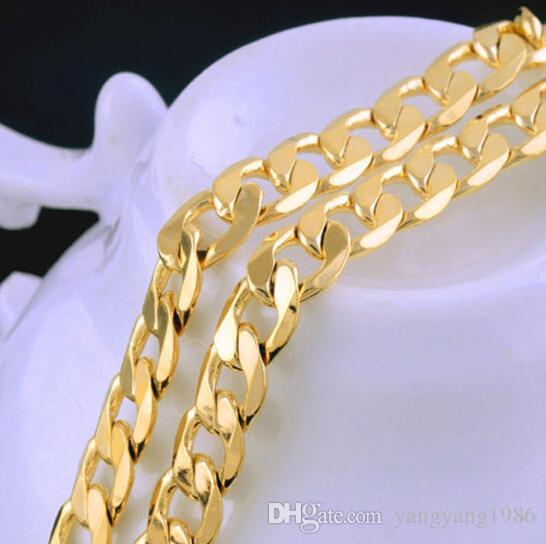 14K الصلبة الذهب الأصفر رجالي قلادة سلسلة عيد ميلاد عيد الحب هدية قيمة الذهب الحقيقي 100٪، وليس صلبة وليس المال.