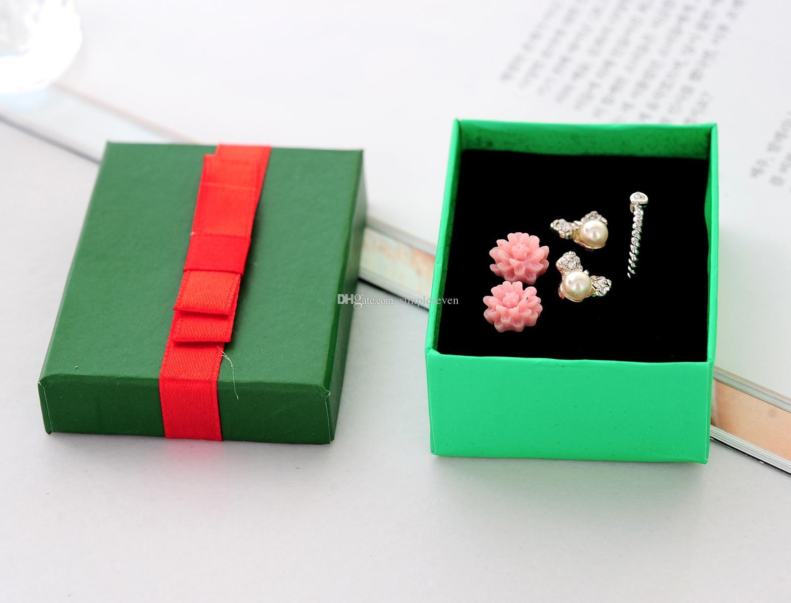 레드 Bowknot와 [간단한 세븐] 솔리드 녹색 팔찌 상자 / 크리스마스 귀걸이 케이스 / 화려한 펜던트 디스플레이 / 특별 선물 보석 상자