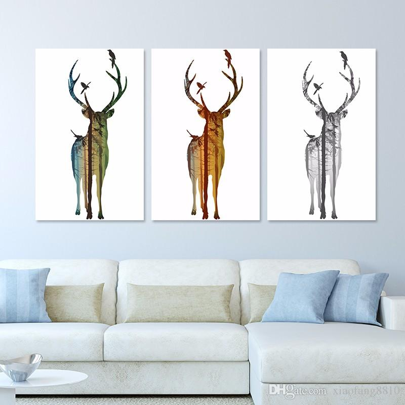 Big Size Landscape Deer Christmas Decoration Wall Art Picture Xmas Reindeer Canvas Painting For Living Room Home Decor Unframed