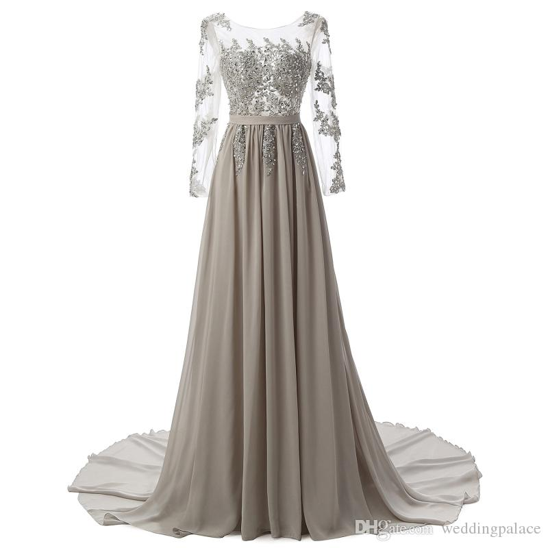 In Stock Silver A Line Long Prom Dresses Chiffon Floor Length ...
