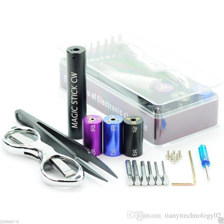E-cig Coil Jig Tool Coil Winder 6 in 1 for RDA RBA Coil Maker Universal Tweezers Scissors Coiling Kit for DIY E-cigarette