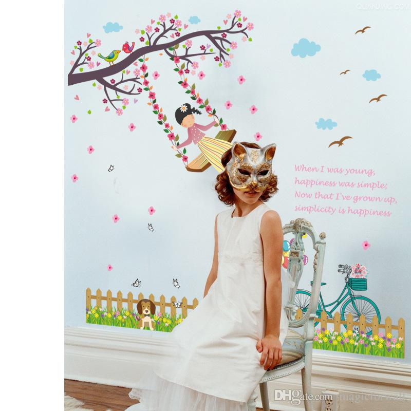 Flowers Tree Branches Pretty Girl Swing on the Tree Birds Butterfly Dog Fence Wall Stickers Kids Girls Room Nursery Wall Border Decal Art