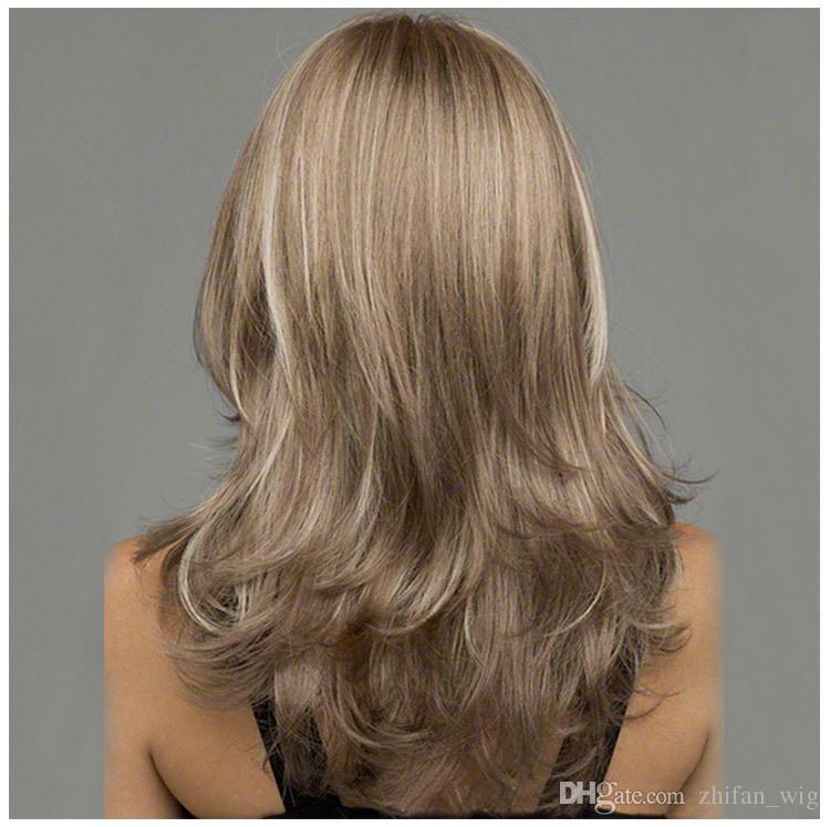 ZF Blonde 58CM Perruques Pour Les Femmes Blanches Synthétique Pour Les Femmes Noires Les Deux Vague Bouclée De Style Européen De La Mode Populaire