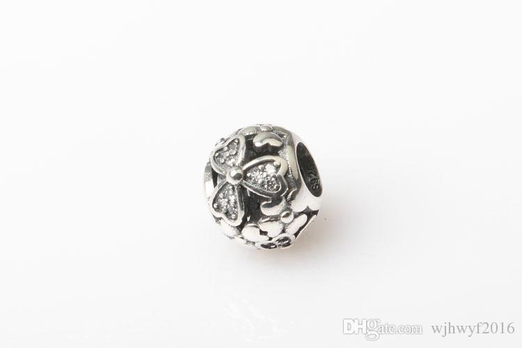 Nuovo openwork micro intarsio Crystal pave charms trifoglio Fiori Bead Authentic 925 gioielli in argento sterling le donne braccialetti FAI DA TE HB402