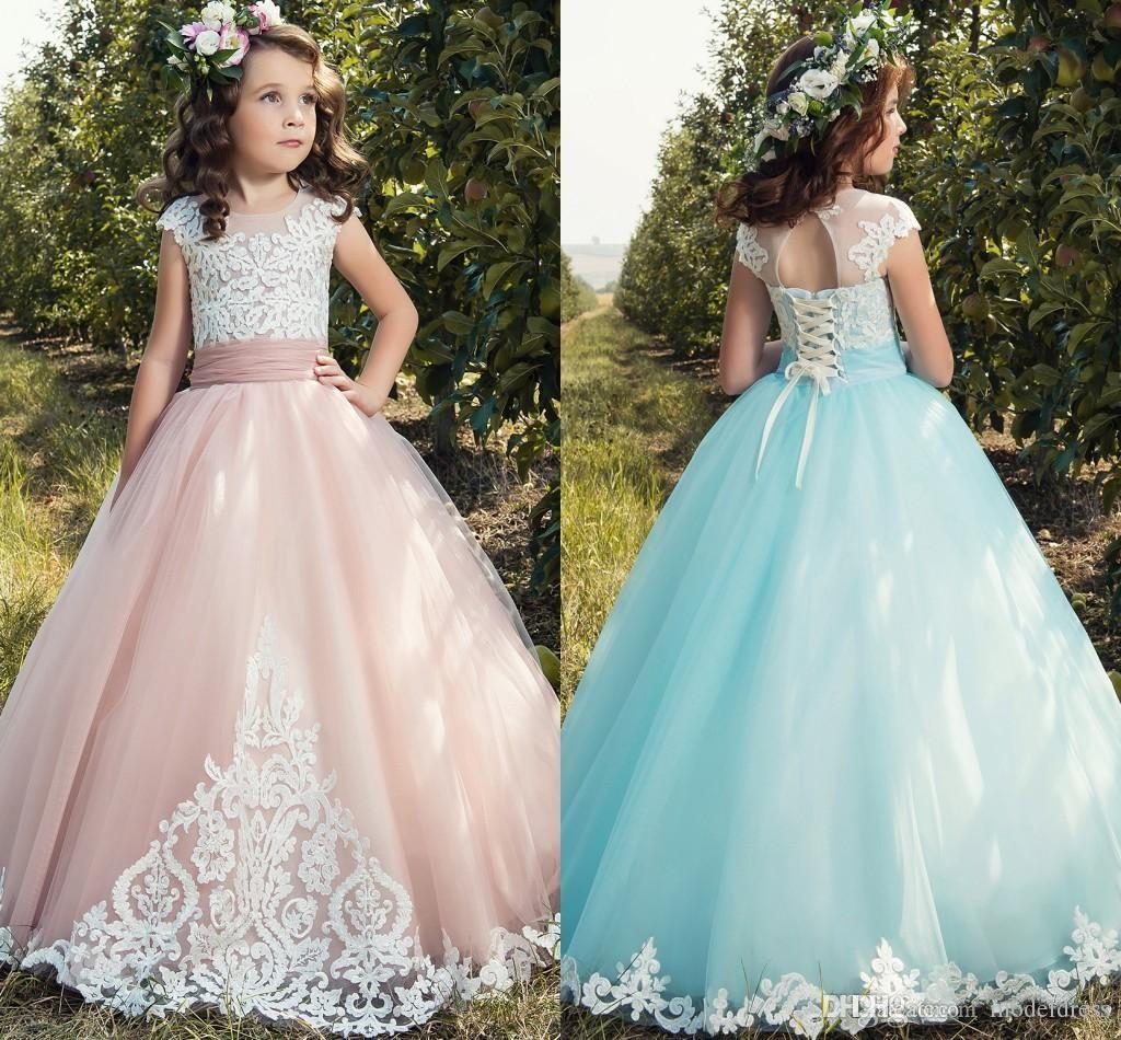 2017 New Princess Flower Girls Dresses Cap Sleeve Appliques Lace Up ...