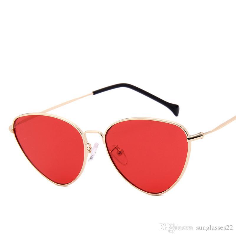 Frau Sonnenbrille Mode Sonnenbrille Retro-Laufbrille Roter Rahmen OAHnTpaP