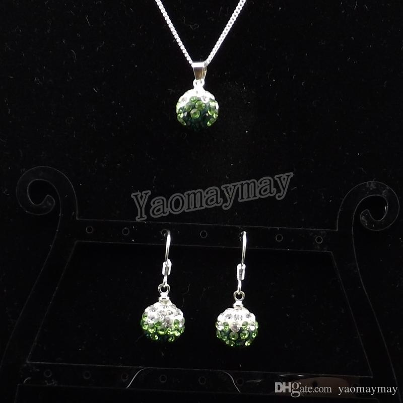 Wholesale Rhinestone Jewelry Set Gradient Green Disco Ball Pendant Earrings And Necklace For Women