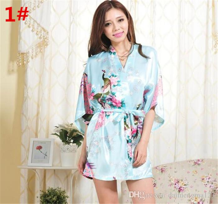 2 قطع 14 ألوان S-XXL مثير المرأة اليابانية الحرير كيمونو رداء منامة باس النوم النوم كسر زهرة كيمونو داخلية d713