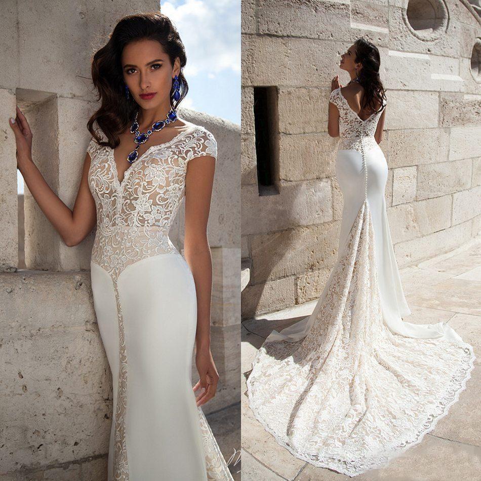Elegant V Neck Wedding Dresses Cap Sleeves Lace Mermaid Wedding Bridal Gowns  Illusion Bodice V Back Button Covered With Chapel Train Latest Mermaid  Wedding ... f62fcc130c08