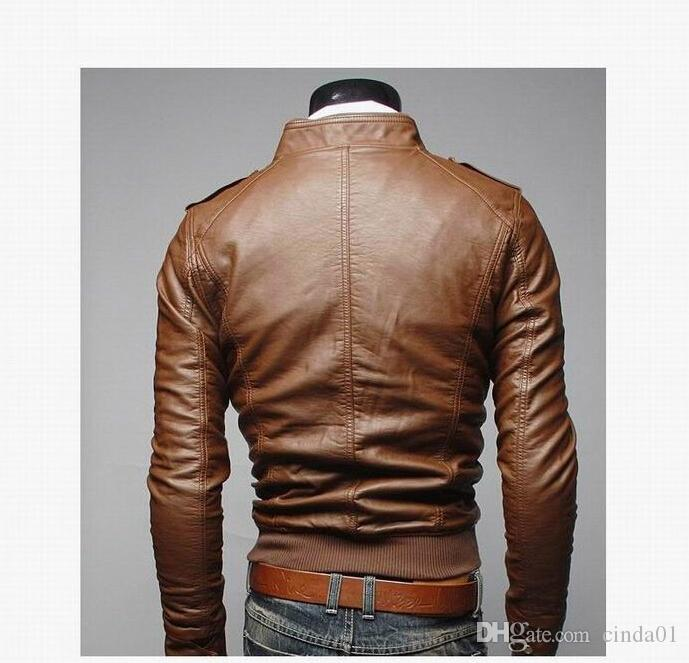 Mens PU Leather Jacket Fashion Coats for Male Business Wear Clothing Motorcyle Biker Jackets Zipper Slim Fit Coats