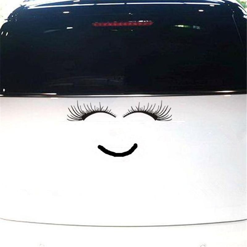 Etiqueta engomada de la linterna del coche al por mayor Etiqueta engomada encantadora del cuerpo del coche Etiqueta engomada negra del ojo del coche de las pestañas falsas atp240