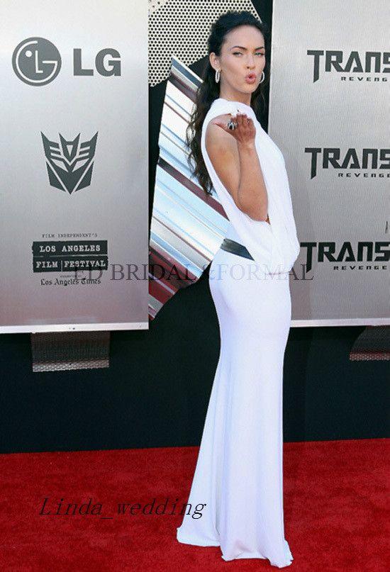 Chegada Nova Cor Branco Megan Fox Vestido Longo celebridade do tapete vermelho Ocasião Dresse Prom vestido de festa vestido