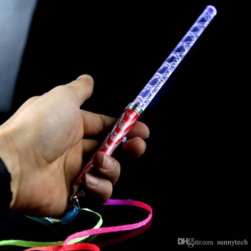26cm Acrilico LED Incandescente Bacchette magiche Bastone Giocattolo Barra del concerto Lampeggiante Bacchette Illuminare Giocattoli Rifornimenti del partito ZA1178