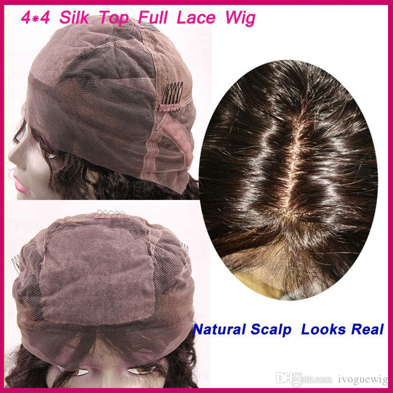 """4""""X4"""" Silk Top Full Lace Human Hair Wig Silky Straight Malaysian Human Hair Lace Front Wig For Black Women Grade 6A"""