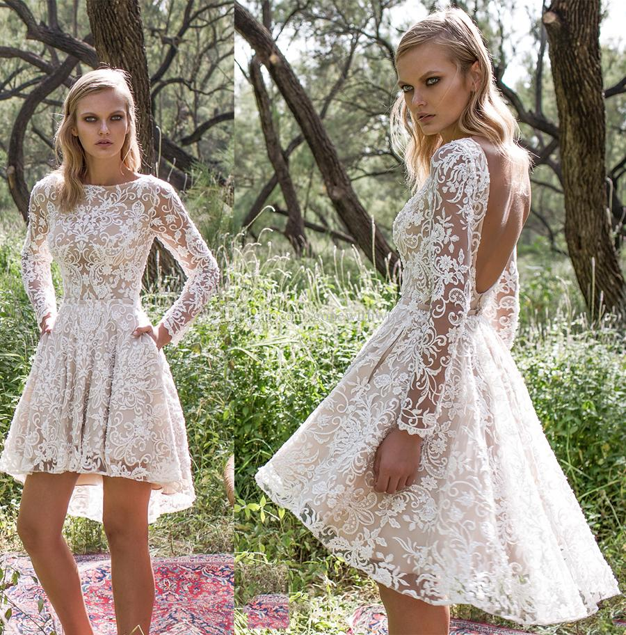 Discount 2017 knee length country lace wedding dresses with long discount 2017 knee length country lace wedding dresses with long sleeves pockets a line scoop back embellishment lace bateau neckline wedding gowns a line ombrellifo Choice Image