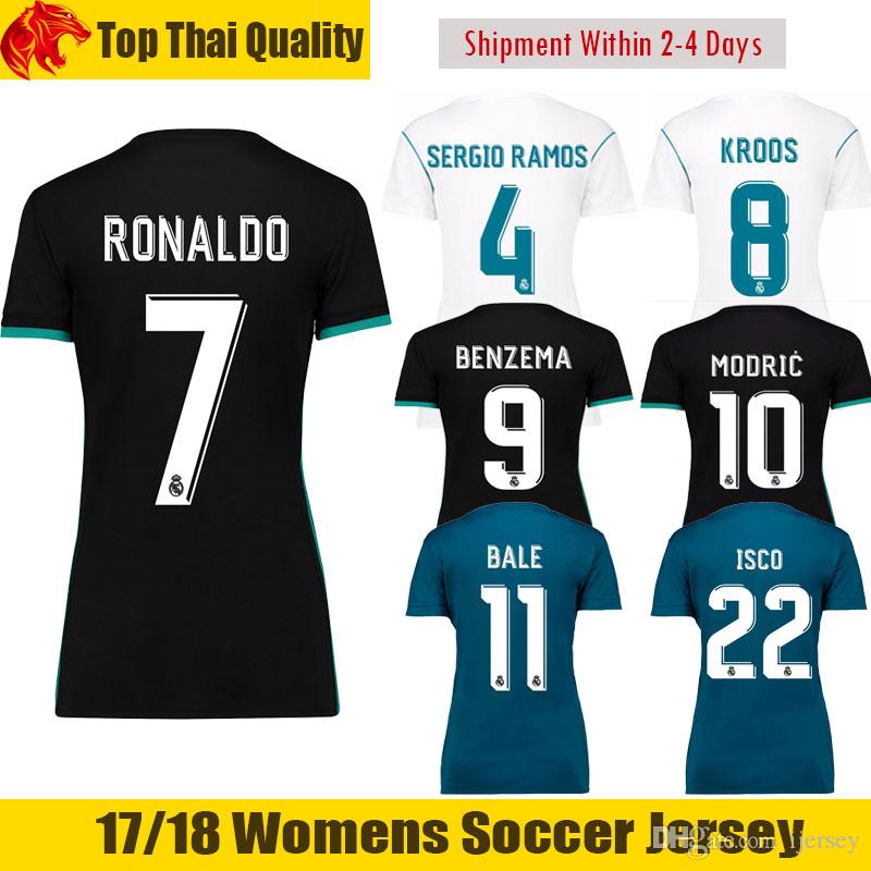 ca5d5e4cd 17 18 Real Madrid Womens Soccer Jerseys 2017 2018 RONALDO Woman Football  Shirt KROOS BENZEMA Female