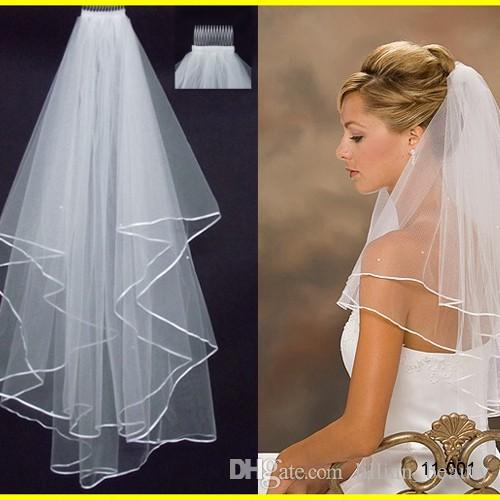 Hot Sale Wedding Veils 2017 Ribbon Edge Two Layer Bridal Veil Accessory For Dresses Elbow Length Net In Stock Sydney