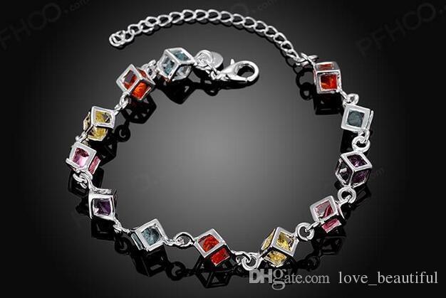 Low price Promotion! Mark 925 Girl / Madam Colorful stones white gem bracelet charm Bracelet 925 Sterling Silver Jewelry