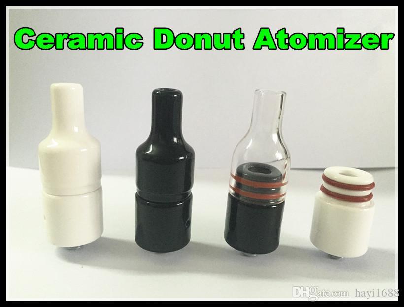 Glass Ceramic Donut Wax Atomizer Glass Cover Full Ceramic Cover For Donut Atomizer black white Dry Herb Wax Vaporizer DHL free
