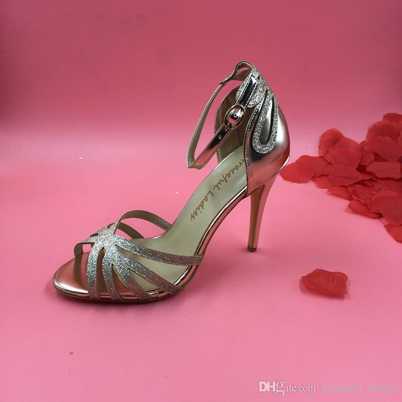 rose gold wedding shoes gold glittered heel wedding shoes pumps sandals gold 7127