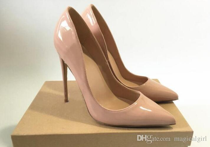 So Kate Styles 8cm 10cm 12cm High Heels Shoes Red Bottom Nude Color Genuine Leather  Point Toe Pumps Rubber Wedding Shoes Online Clothes Shopping Designer ... 1605aa864e73