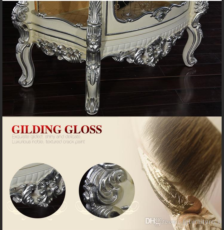 Antique luxury dining room furniture - solid wood handcraft royalty wine cabinet