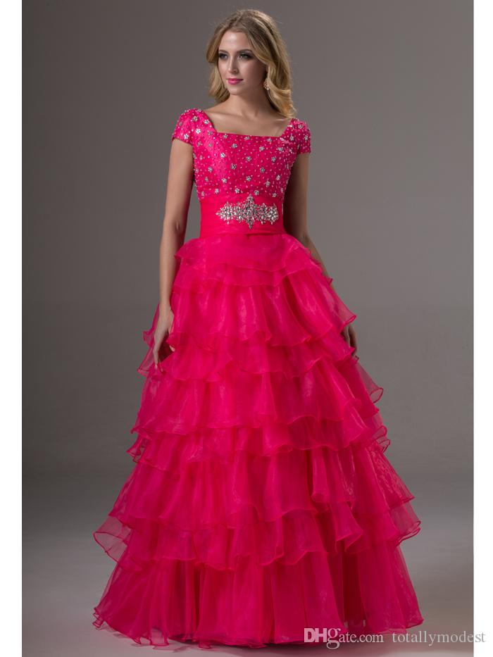 4768b597a0a 2016 Fuchsia Modest Prom Dresses With Short Sleeves Beaded Bodice Square  Neck Prom Gowns For Teens Tiered Organza Long Prom Party Dress Fast  Shipping Prom ...