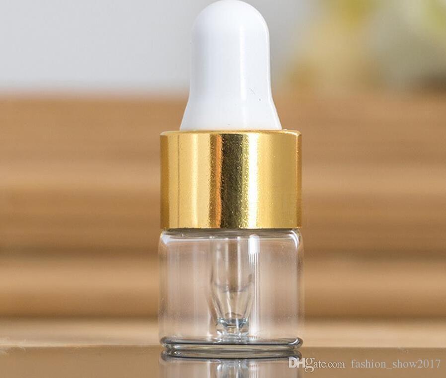 1ml 2ml 3ml Amber Dropper Mini Botella de Cristal Aceite Esencial Vial Pequeño Perfume de Sérum Brown Envase de Muestra