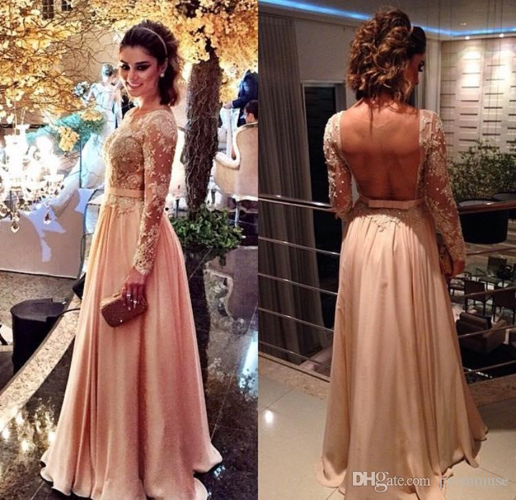 Dresses Evening Wear 2017 Rustic Blush Pink Celebrity Vintage A Line Jewel Long Sleeves With Lace Appliques And Sequins Mesh Chiffon