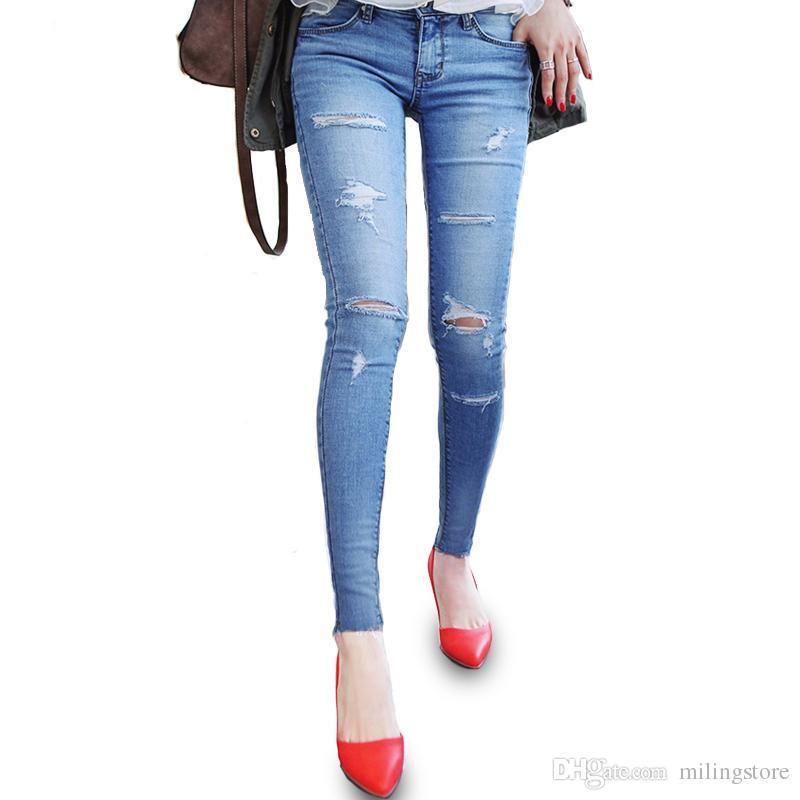 Casual Trou Ripped Femmes De Mode Maigre Jeans Femme Acheter Slim Ta6vwqTC