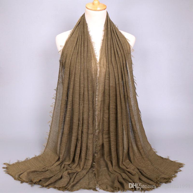 Kabarcık pamuk düz kırışıklık eşarp şal wrap müslüman başörtüsü bandı örtüsü popüler eşarp 46 renk