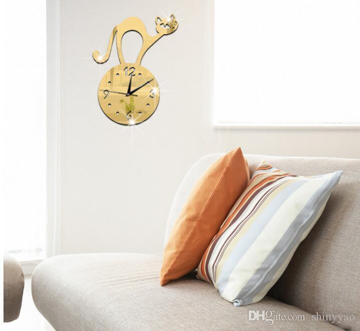 Adesivos de parede de fundo sala de estar quarto quarto das crianças relógio de parede relógio dos desenhos animados gato Espelho Adesivos de Parede Relógio