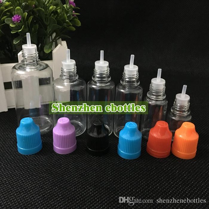 Großhandel PET-Kunststoff-Flaschen 50ml Empty Bottle PET-Kunststoff-Tropfflaschen mit langen dünnen Spitzen und Kindergesicherte Caps PET-Flasche Nadel